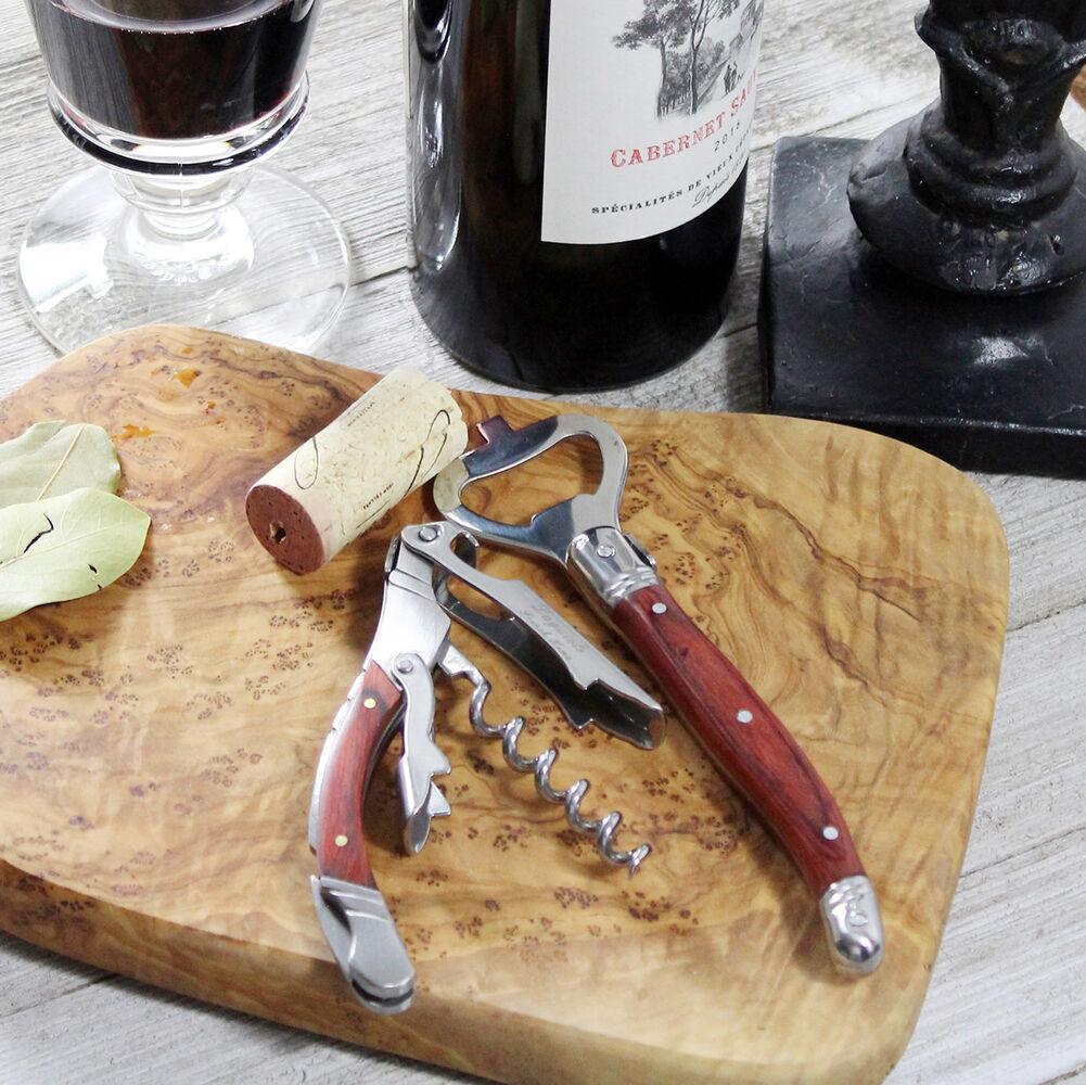 French Home Laguiole Pakkawod Bottle Opener Bar and Corkscrew Set