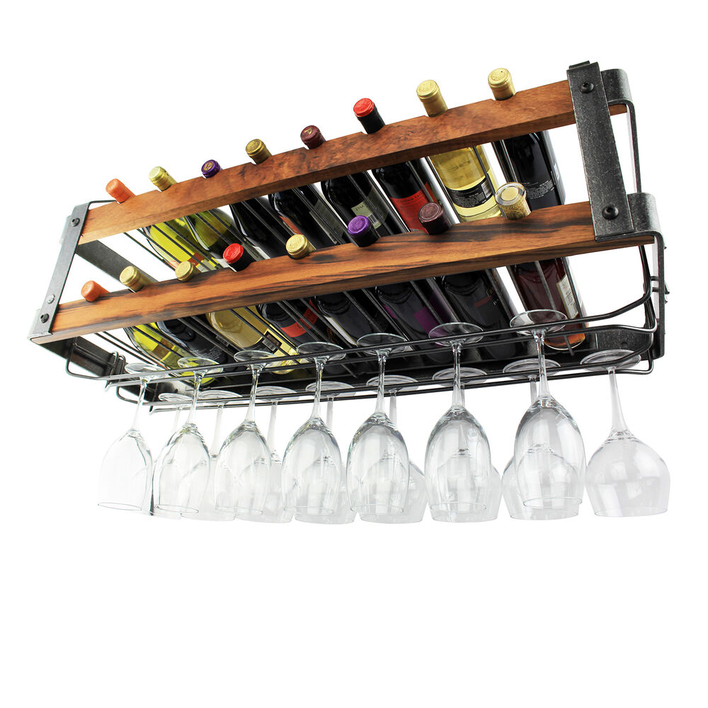 Enclume Hammered Steel & Tigerwood Signature Bookshelf Double Wine Rack