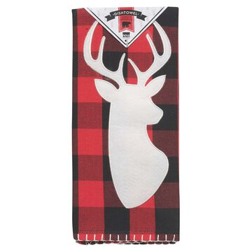 "Buffalo Check Deer Kitchen Towel, 28"" x 18"""