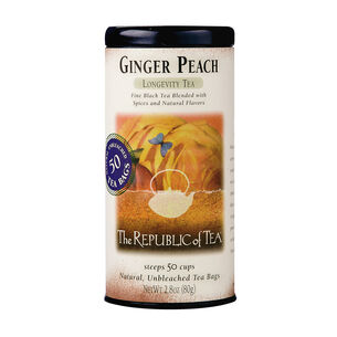 The Republic of Tea Ginger Peach Longevity Tea, 50 Bags