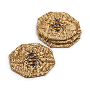 Beaded Bee Coasters, Set of 4