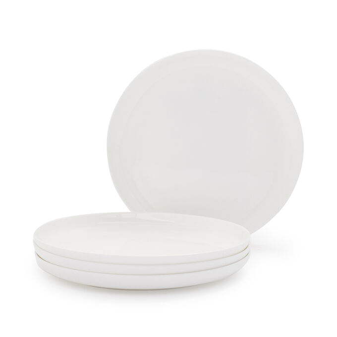 Gourmet Essentials Bone China Coupe Salad Plates, Set of 4