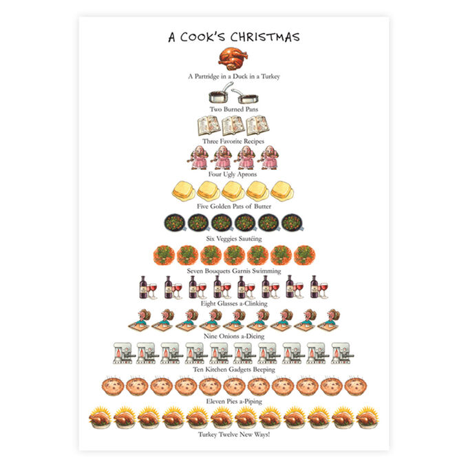 "The Cook Lovers 12 Days of Christmas Flour Sack Towel, 26"" x 18"""