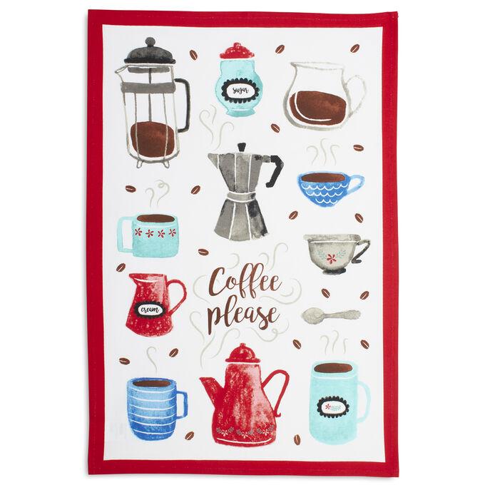 "Coffee Please Kitchen Towel, 28"" x 18"""