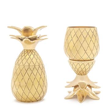 W&P Gold Pineapple Shot Glasses, Set of 2