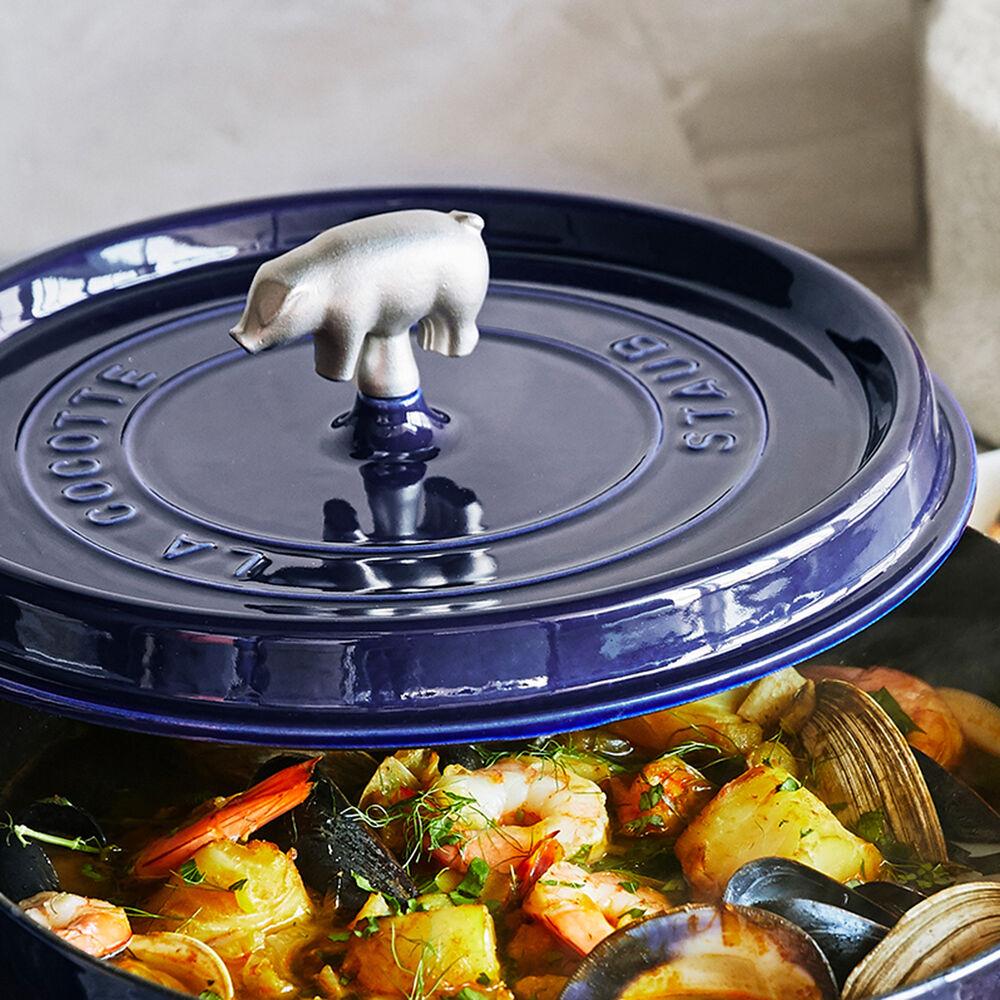 Staub Cast Iron Cochon Shallow Wide Round Cocotte, 6 qt.
