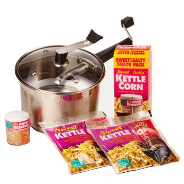 Stainless Steel Platinum Popper with Sweet and Salty Snack Pack