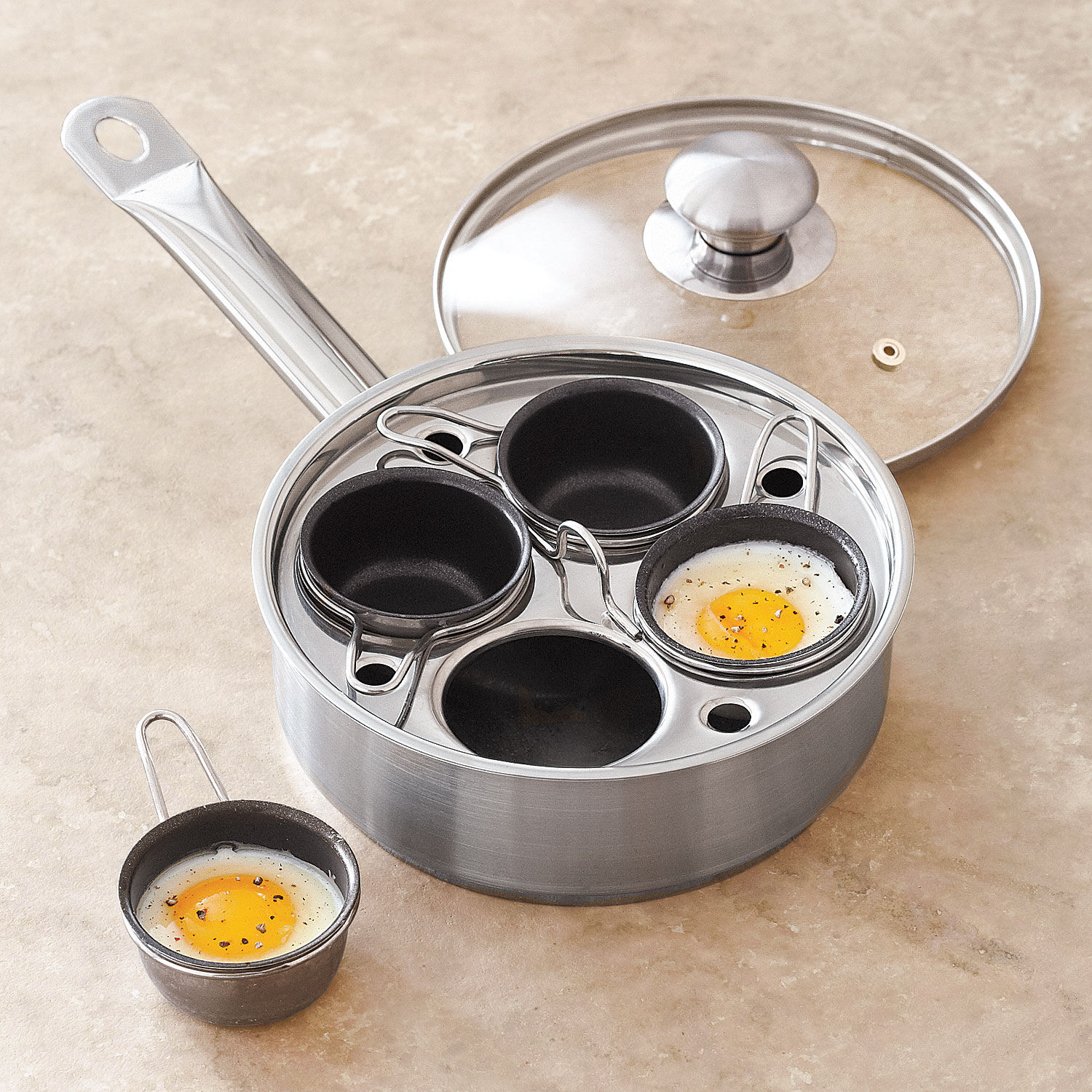 4 Hole Cup Non Stick Egg Poacher//Steamer Cooking Pan 4 Replacement Cups UK Made