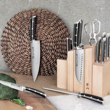 Cangshan TS Series Swedish Sandvik Steel Forged Maple Knife Block, Set of 14