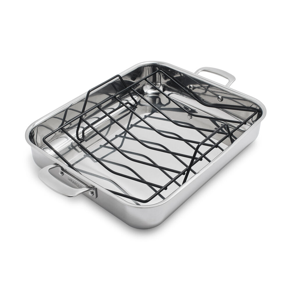 "Sur La Table La Marque 84 Stainless Steel Roaster with Nonstick Roasting Rack, 16"" x 13"""