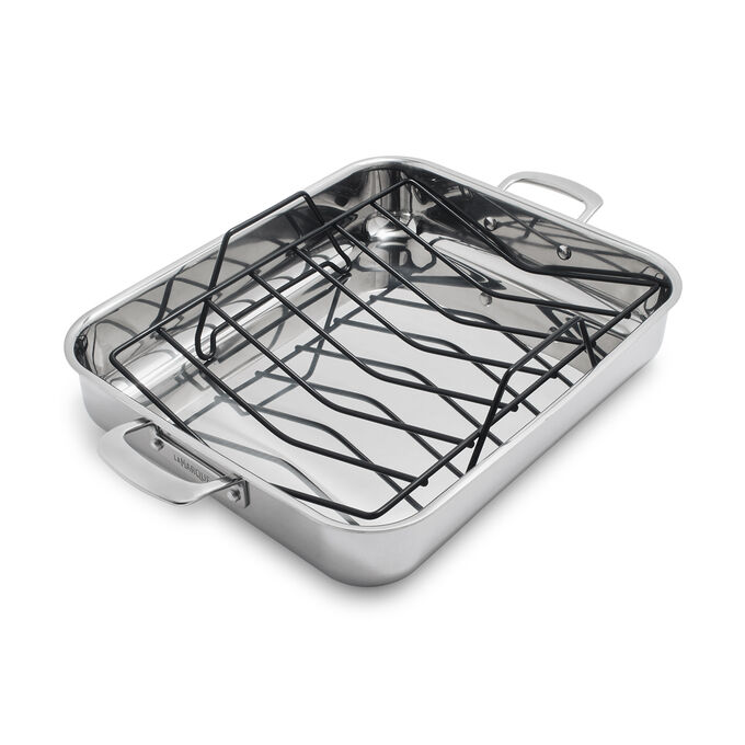 """La Marque 84 Stainless Steel Roaster with Nonstick Roasting Rack, 16"""" x 13"""""""