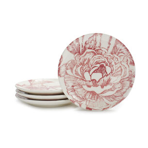Damask Peony Appetizer Plates, Set of 4