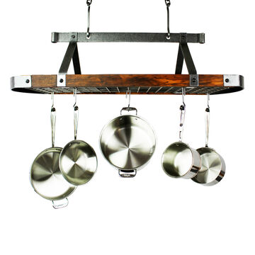 Enclume Hammered Steel & Tigerwood Signature Oval Ceiling Pot Rack