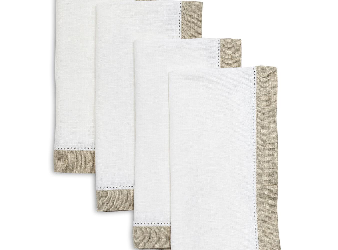 Hemstitch-Border Linen Napkins, Set of 4 | Sur La Table