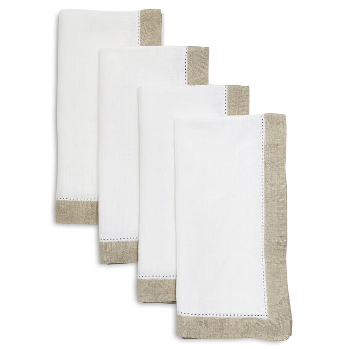 Hemstitch-Border Linen Napkins, Set of 4