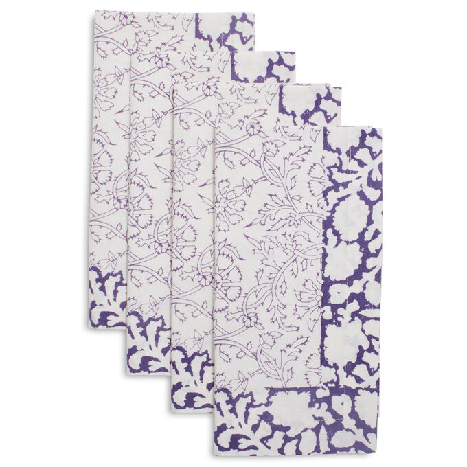 Blue Floral Block Napkins, Set of 4