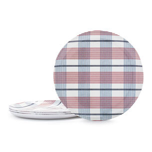 Pique-Nique Plaid Melamine Dinner Plates, Set of 4