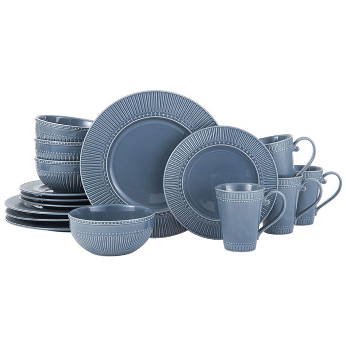 Fluted Blue Italian Countryside 16-Piece Dinnerware Set