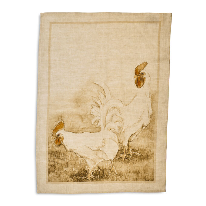 "Natural Rooster Linen Kitchen Towel, 28"" x 20"""
