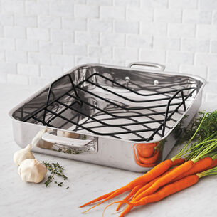 "Sur La Table Tri-Ply Stainless Steel Roasting Pan, 16"" x 12"""