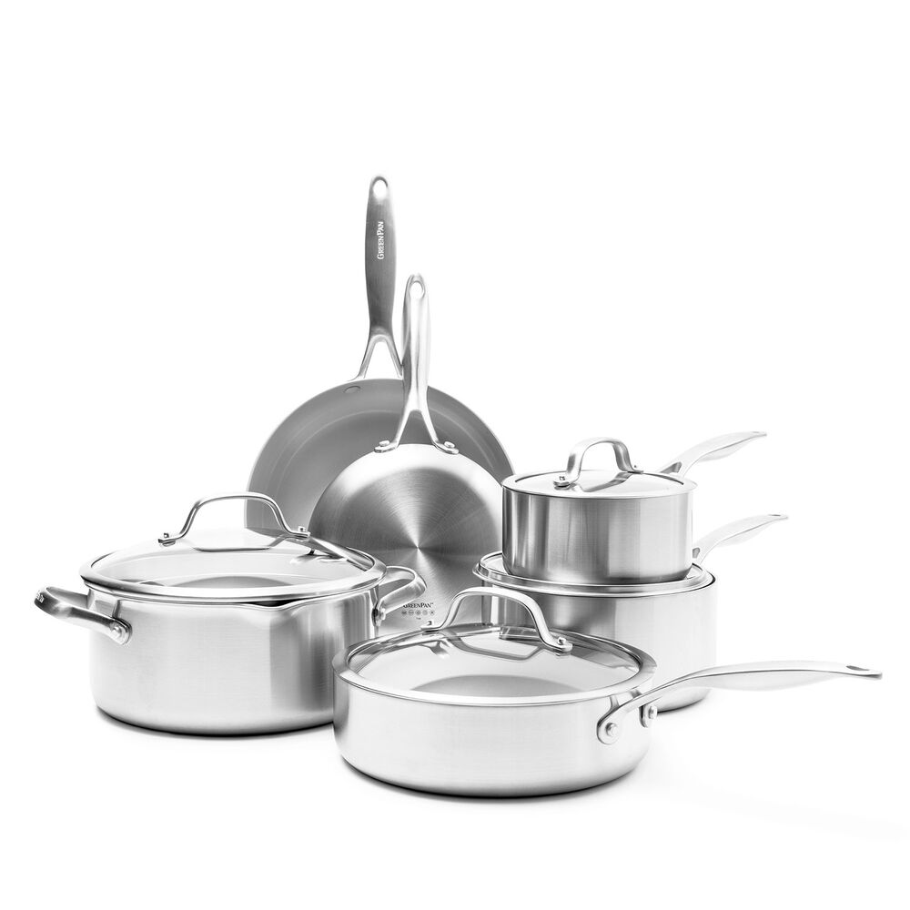 GreenPan Venice Pro Stainless Steel Ceramic Nonstick, Set of 10
