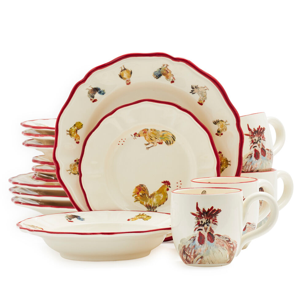 Jacques Pépin Collection 16-Piece Chickens Dinnerware Set