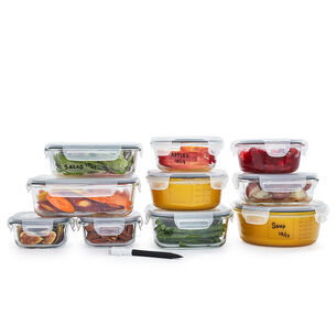 Sur La Table 20-Piece Glass Storage Container Set with Pen