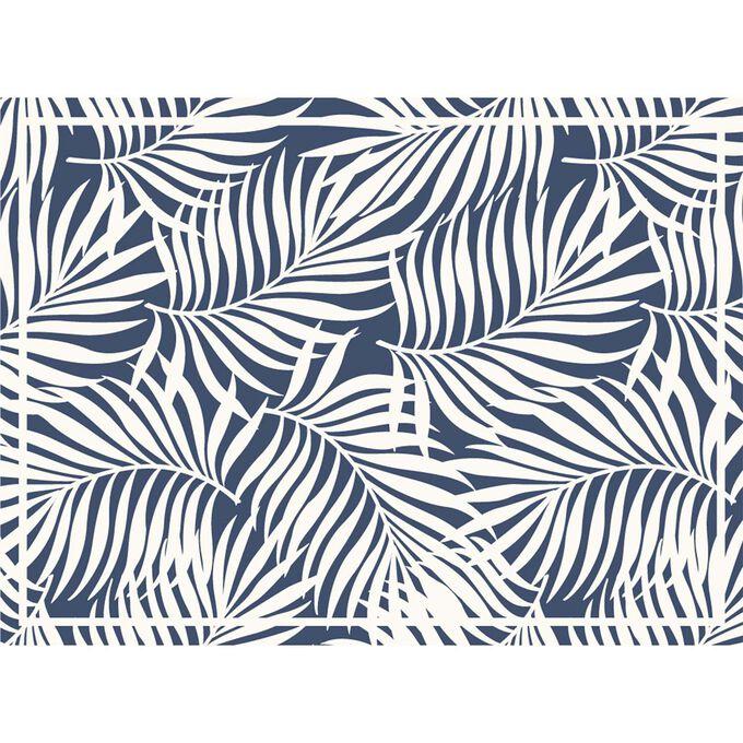 Palm Blue Vinyl Placemats, Set of 4