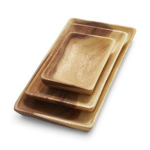 Acacia Wood Rectangular Platters, Set of 3