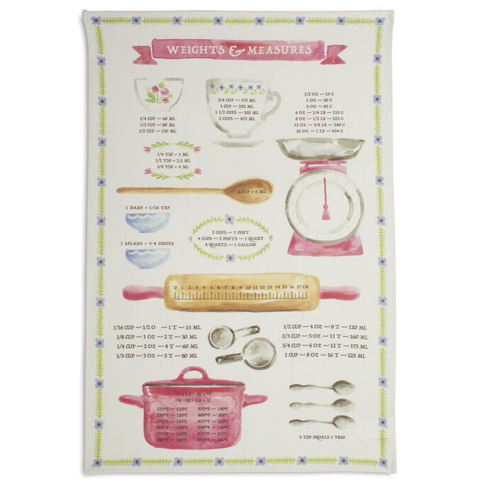 """Weights and Measures Kitchen Towel, 28"""" x 18"""""""