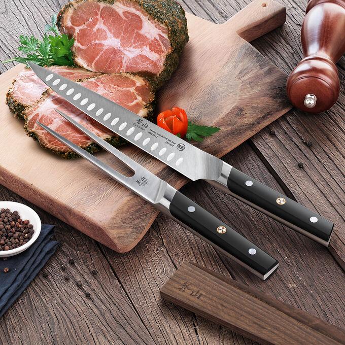 """Cangshan TC Series Swedish Sandvik Steel Forged Carving Knife & Carving Fork Set, 9"""" & 6"""""""