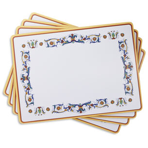 """Cork-Backed Deruta-Style Placemats, 11.5"""" x 15.75"""",  Set of 4"""