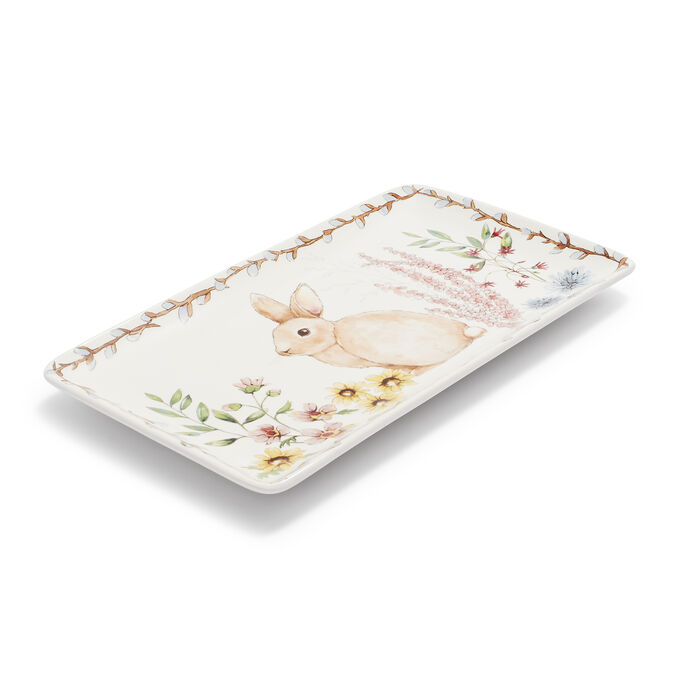"Bunny Rectangular Platter, 14"" x 8"""
