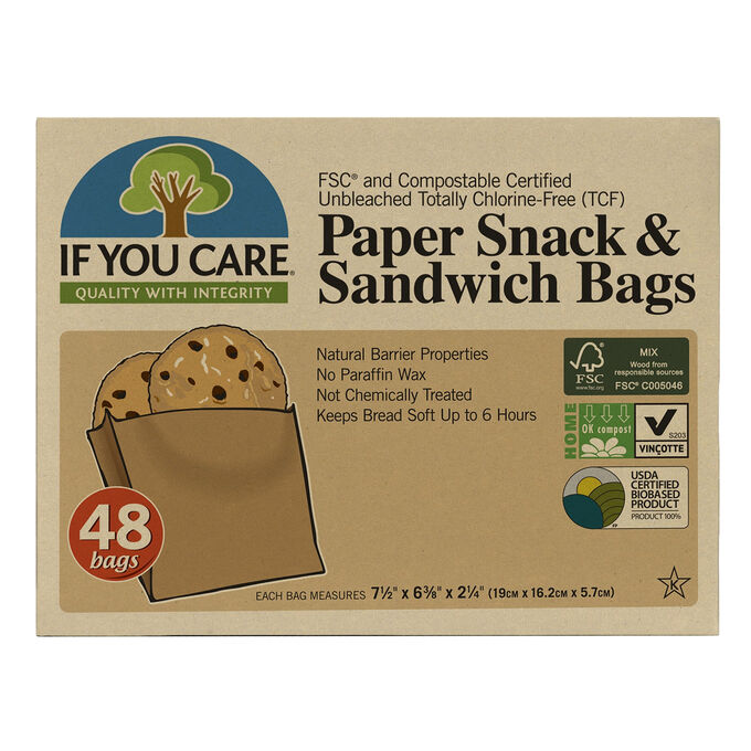 If You Care Compostable & Eco-Friendly Paper Sandwich Bags, Pack of 48