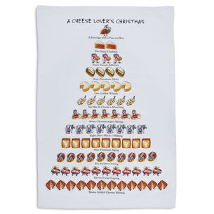"12 Days ""Cheese Lovers"" Flour Sack Kitchen Towel, 26"" x 18"""