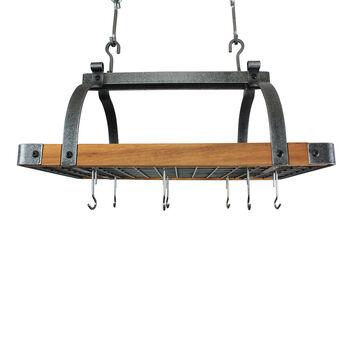 Enclume Hammered Steel & Tigerwood Signature Ceiling Pot Rack