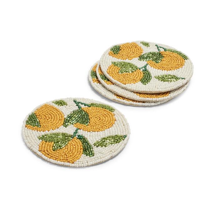 Beaded Citrus Coasters, Set of 4