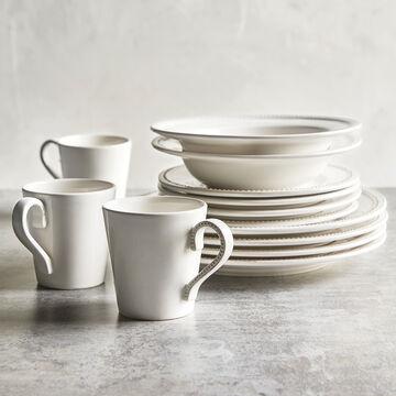 Pearl Stoneware Dessert Plates, Set of 4