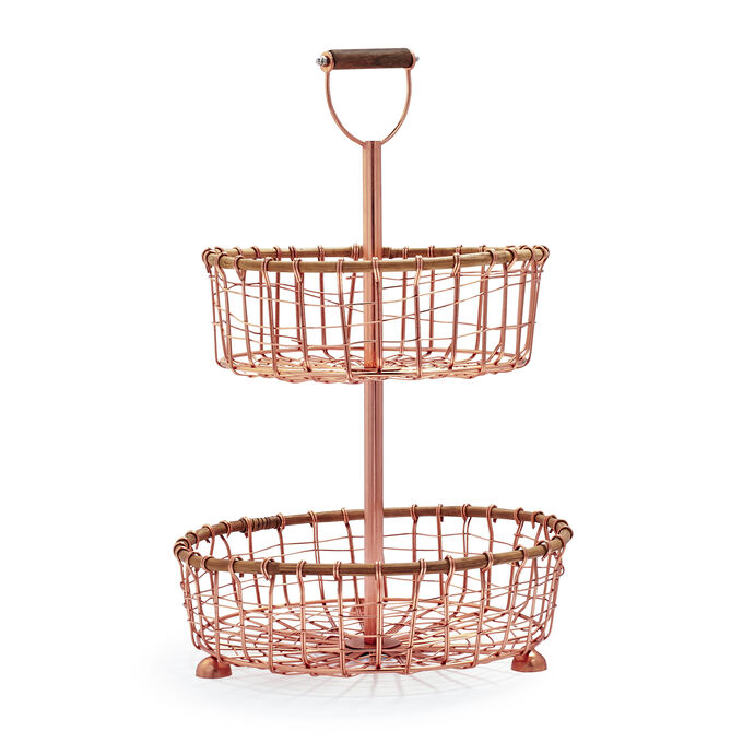 Two-Tier Rose-Gold Wire Stand