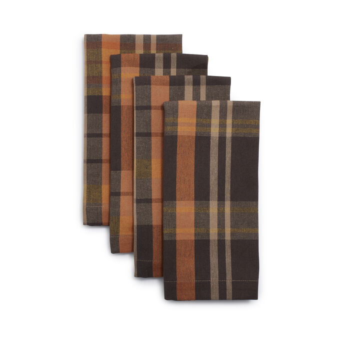 Brown Plaid Napkins, Set of 4