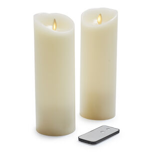 Flameless Pillar Candles, Set of 2