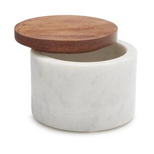 Marble Salt Keeper with Acacia Wood Lid
