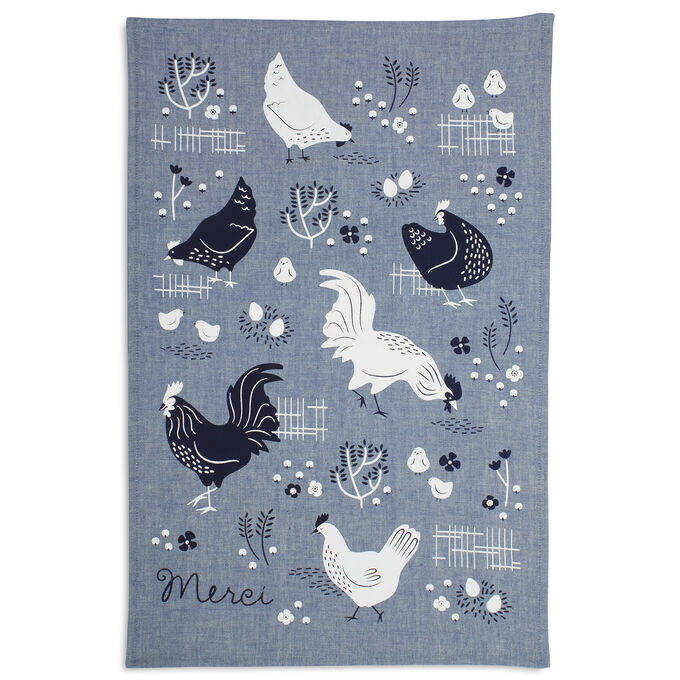 "Merci Chambray Kitchen Towel, 28"" x 18"""
