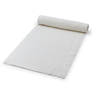 "White Linen Table Runner, 108"" x 16"""