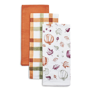 Fall Flour Sack Kitchen Towels, Set of 3