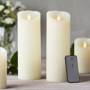Flameless Pillar Candles, Set of 2