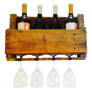 LadyBagsSF Walnut Reclaimed Wood Wine Rack, 4 Bottle