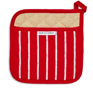 Red Butcher Stripe Pot Holder