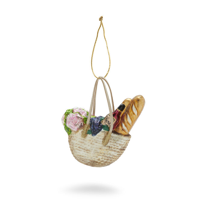 Market Bag Glass Ornament
