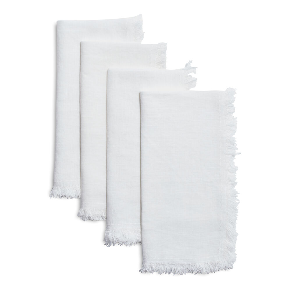 Frayed Linen Napkins, Set of 4